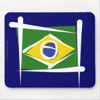 Brazil Brush Flag Mouse Pads
