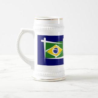 Brazil Brush Flag Coffee Mugs