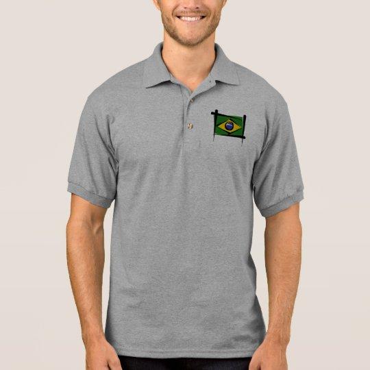 Brazil Brush Flag Polo Shirt