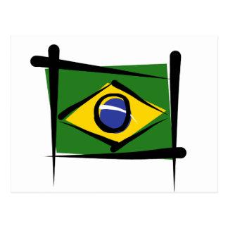 Brazil Brush Flag Postcard