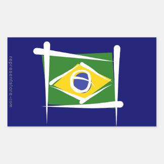 Brazil Brush Flag Rectangular Sticker