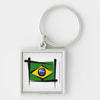 Brazil Brush Flag Silver-Colored Square Keychain