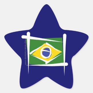 Brazil Brush Flag Star Sticker
