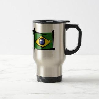Brazil Brush Flag Travel Mug