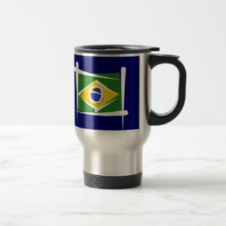 Brazil Brush Flag Travel Mug