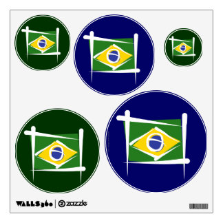 Brazil Brush Flag Wall Decal