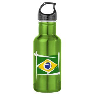 Brazil Brush Flag Water Bottle