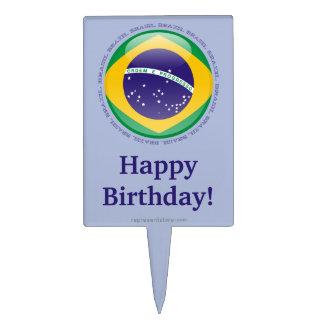 Brazil Bubble Flag Cake Picks