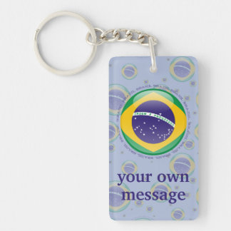 Brazil Bubble Flag Double-Sided Rectangular Acrylic Keychain