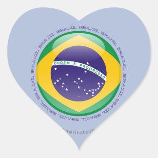 Brazil Bubble Flag Heart Sticker