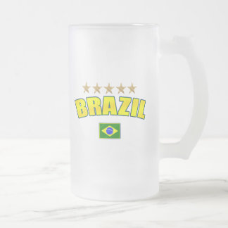 Brazil Canary Yellow shaded logo tees and gifts Frosted Glass Beer Mug