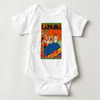 Brazil Carnival 1933 Vintage World Travel Poster Baby Bodysuit