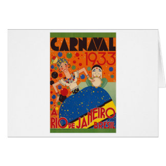 Brazil Carnival 1933 Vintage World Travel Poster Card