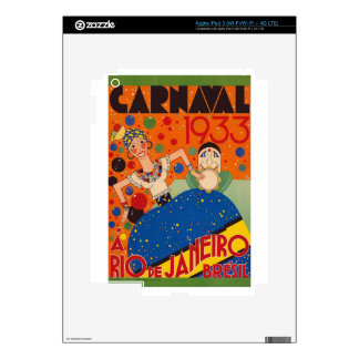 Brazil Carnival 1933 Vintage World Travel Poster iPad 3 Decals