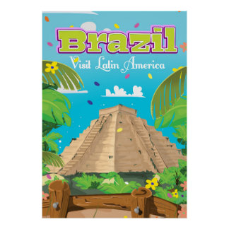 Brazil Cartoon travel poster print.