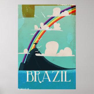 brazil christ the redeemer vintage travel poster
