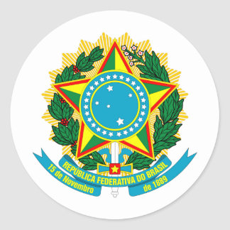 Brazil coat of arms classic round sticker
