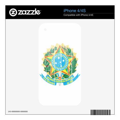 Brazil Coat Of Arms Decal For The iPhone 4