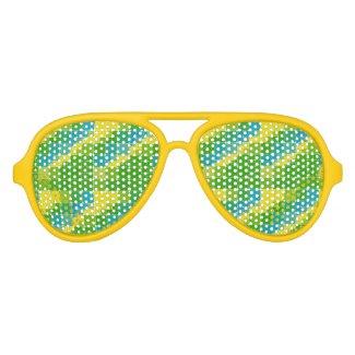 Brazil color square ブラジルカラー タイル模様 aviator sunglasses