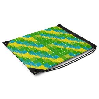 Brazil color square ブラジルカラー タイル模様 drawstring backpacks