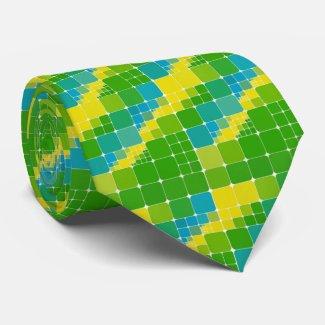 Brazil color square ブラジルカラー タイル模様 tie