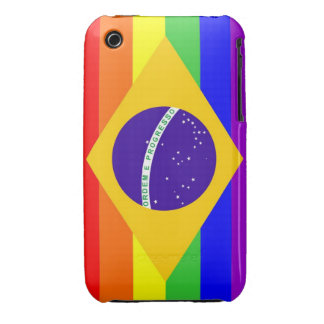 brazil country gay proud rainbow flag homosexual Case-Mate iPhone 3 case