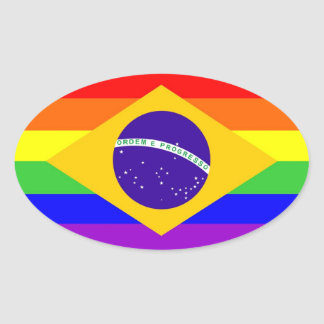brazil country gay proud rainbow flag homosexual oval stickers