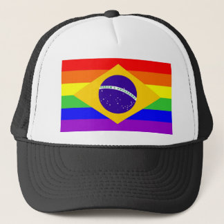 brazil country gay proud rainbow flag homosexual trucker hat