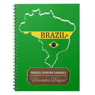 Brazil country outline Flag Colors Modern Notebook
