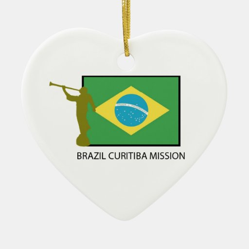 BRAZIL CURITIBA MISSION LDS Double-Sided HEART CERAMIC CHRISTMAS ORNAMENT
