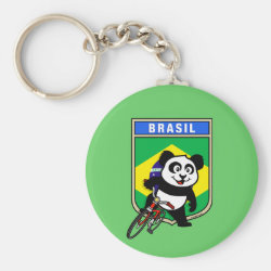 Basic Button Keychain with Brazil Cycling Panda design