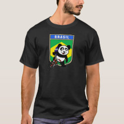 Men's Basic Dark T-Shirt with Brazil Cycling Panda design