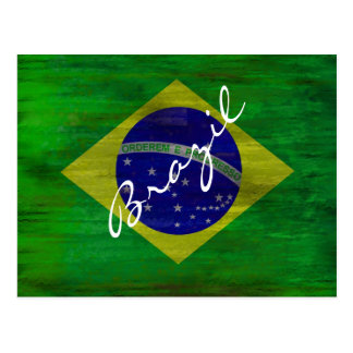 Brazil distressed Brazilian flag Postcard