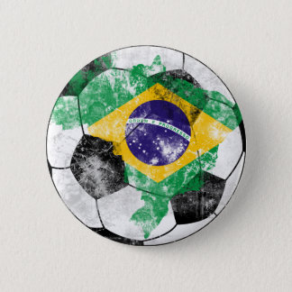Brazil Distressed Soccer Pinback Button