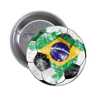Brazil Distressed Soccer Pinback Button