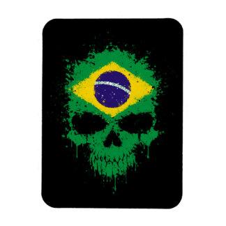 Brazil Dripping Splatter Skull Vinyl Magnet