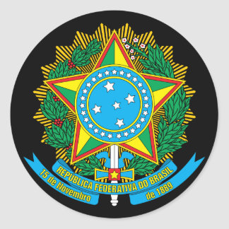brazil emblem classic round sticker