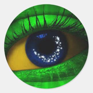 Brazil Falg Classic Round Sticker