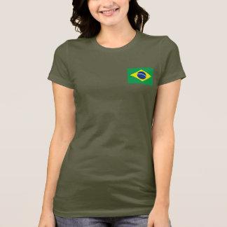 Brazil Flag and Map dk T-Shirt