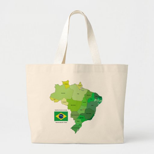 Brazil Flag and Political Map Canvas Bag