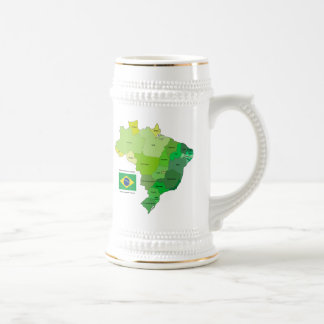 Brazil Flag and Political Map Beer Stein