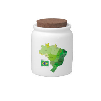 Brazil Flag and Political Map Candy Dish