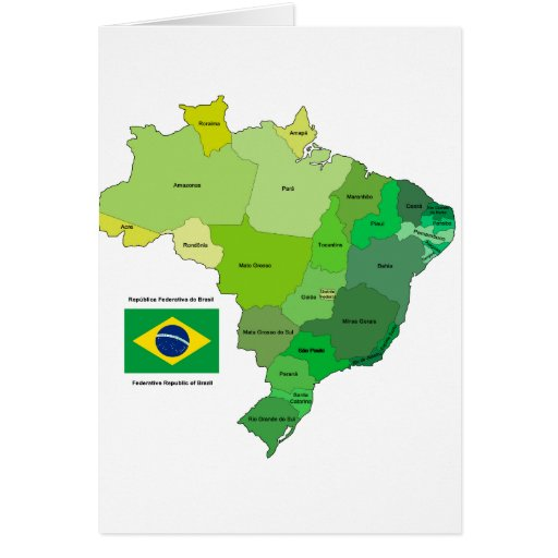 Brazil Flag and Political Map Card