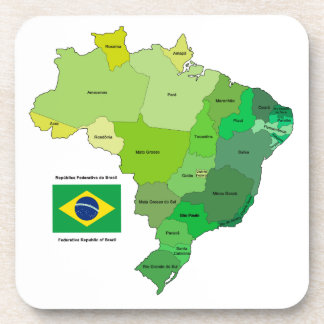 Brazil Flag and Political Map Coaster