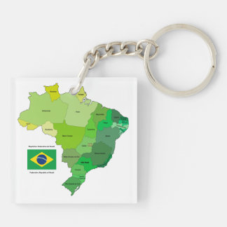 Brazil Flag and Political Map Double-Sided Square Acrylic Keychain