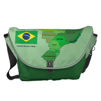 Brazil Flag and Political Map Courier Bag
