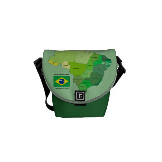 Brazil Flag and Political Map Messenger Bag