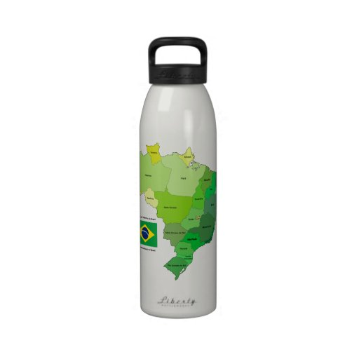 Brazil Flag and Political Map Reusable Water Bottles