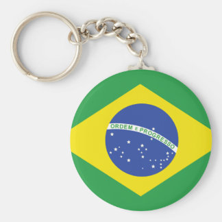 Brazil Flag Basic Round Button Keychain