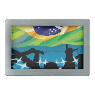 Brazil flag belt buckles